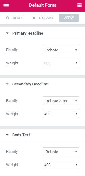 Choosing Default Fonts In Elementor
