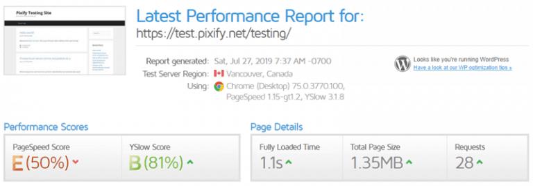 GeneratePress - GTMetrix Stats