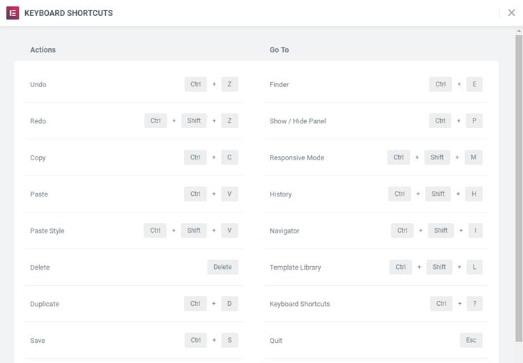 Keyboard Shortcuts In Elementor