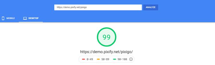 PixiGo - Google PageSpeed Insights Results