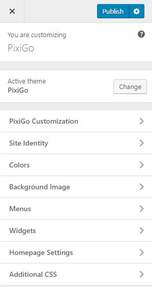 PixiGo - Theme Customizer