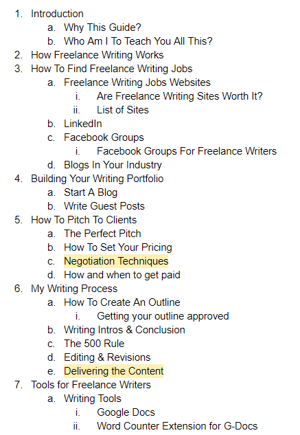 Freelance Writing Guide - Outline