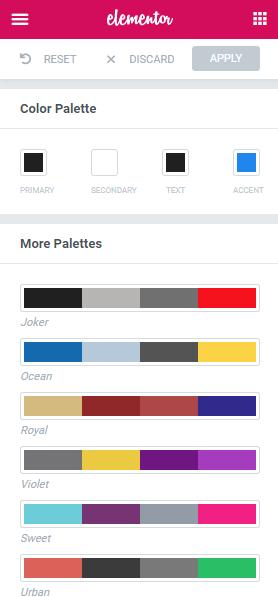 Default Colors - Elementor Page Builder