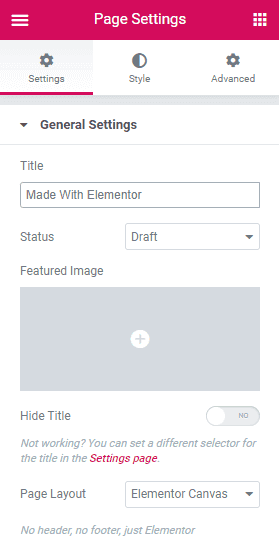 Elementor - Page Settings